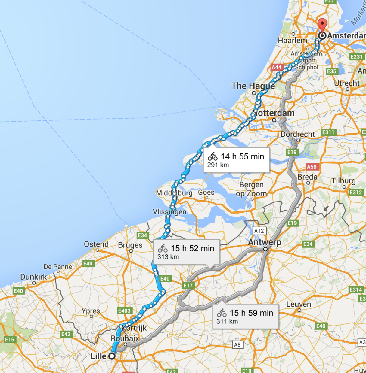 Lille to Amsterdam by bike