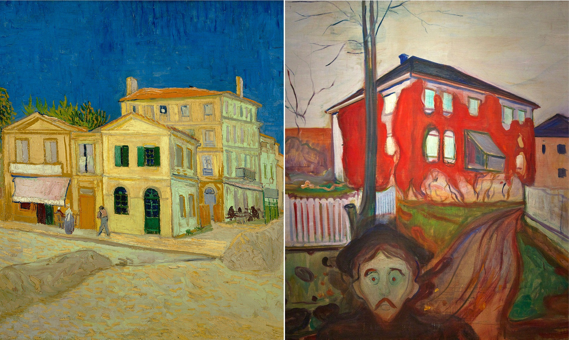 Vincent van Gogh's The Yellow House (1888); and Red Virginia Creeper (1898-1900), by Edvard Munch Photograph: Van Gogh Museum, Amsterdam/ Munch-Museet, Oslo
