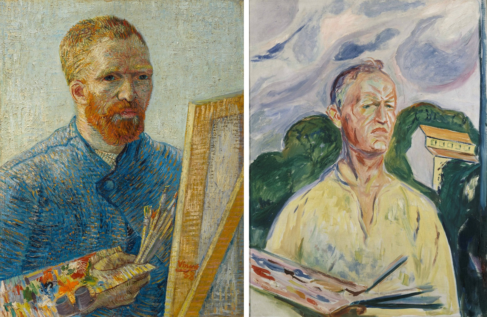 Self-Portrait as a Painter (1887-88) by Vincent van Gogh; and Self-Portrait with Palette (1926) by Edvard Munch. Photograph: Reuters