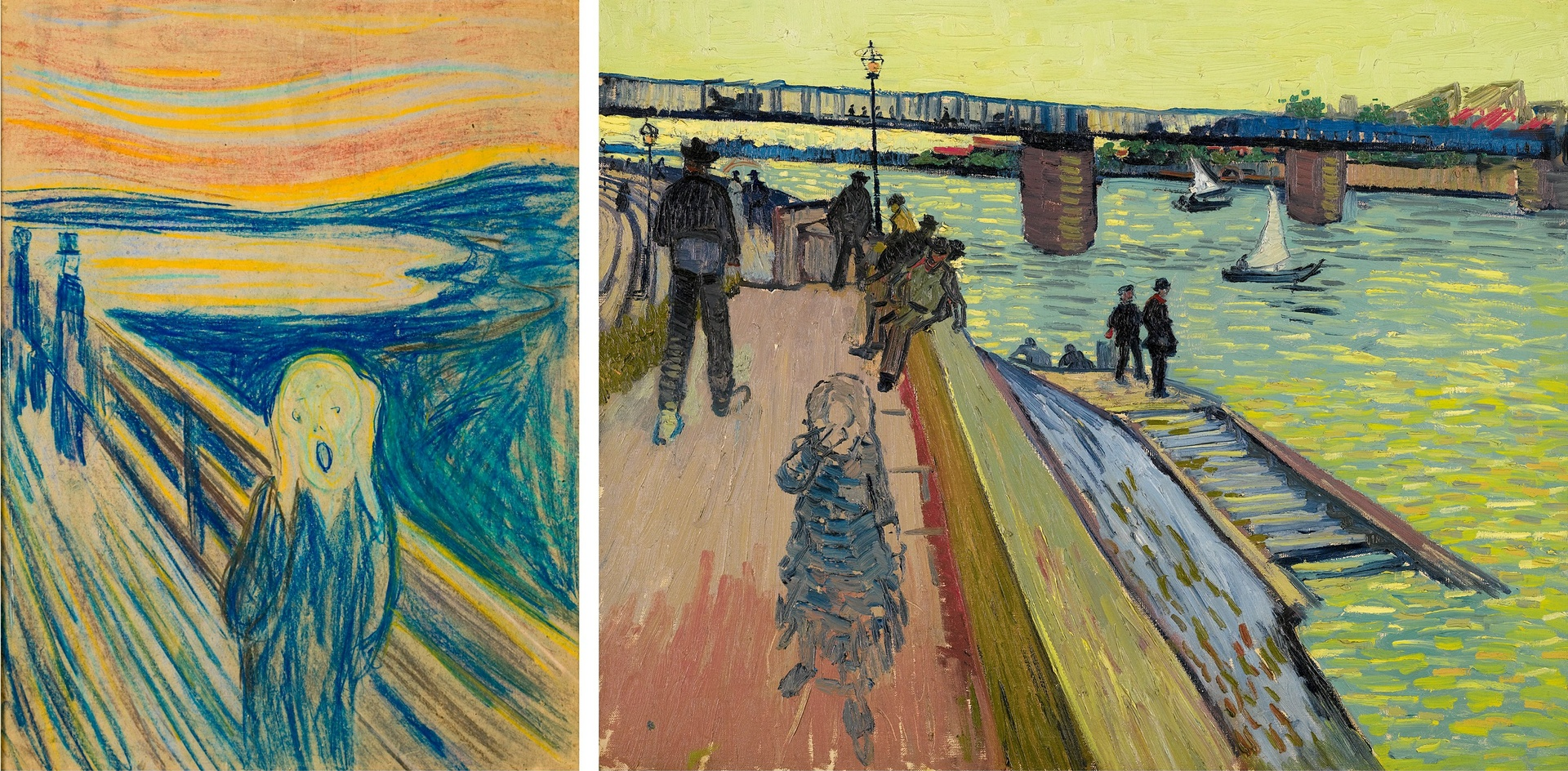 Detail of Edvard Munch's The Scream, left, compared with Vincent Van Gogh's The Bridge at Trinquetaille. The artists' work is being shown in a joint exhibition in Amsterdam. Photograph: Reuters