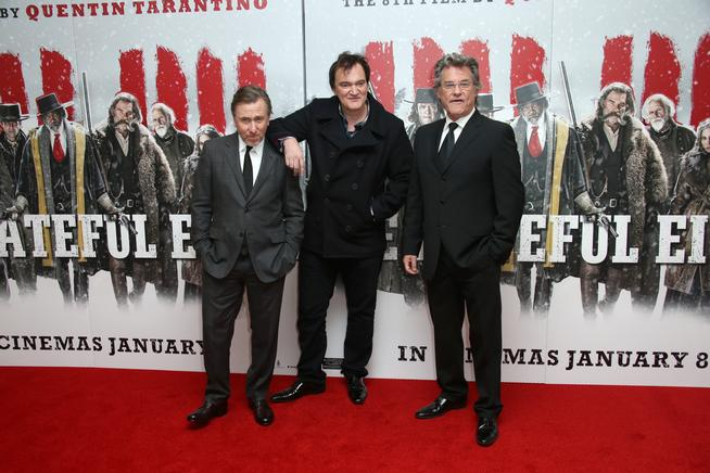 From lefty, Tim Roth, Quentin Tarantino and Kurt Russell pose for photographers upon arrival at the premiere of the film 'The Hateful Eight' in London, Thursday, Dec. 10, 2015. (Photo by Joel Ryan/Invision/AP)